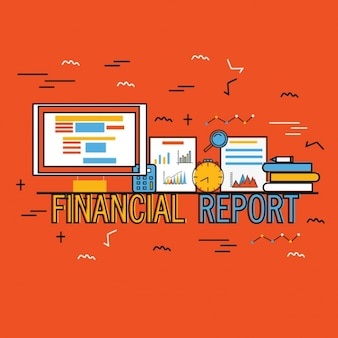 Red background of financial report in flat design