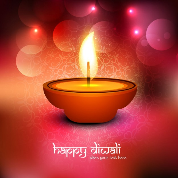 Red background with a candle for diwali