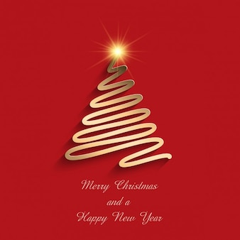 Red background with a golden christmas tree