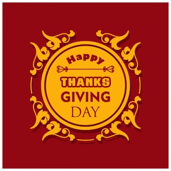 Red background with a label for the thanksgiving day