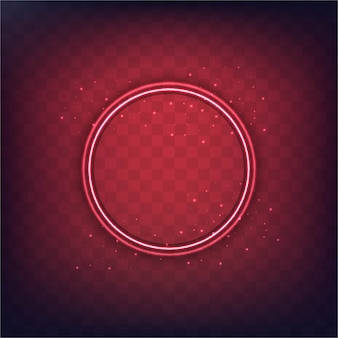 Red background with a neon circle