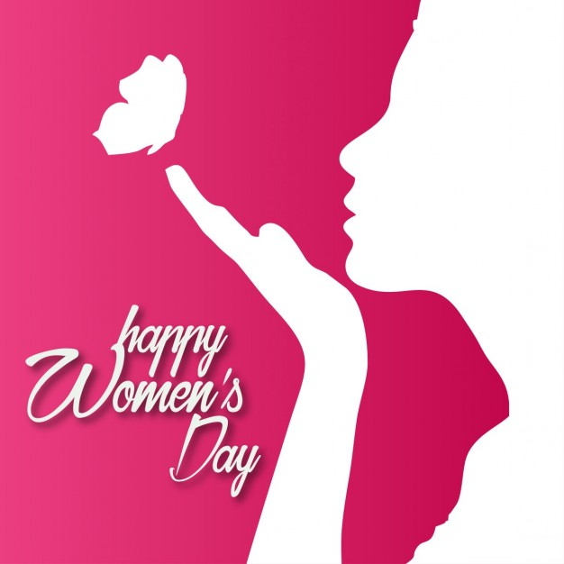 Red background with a silhouette for woman's day