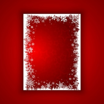 Red background with a white frame for christmas