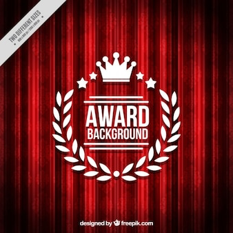 Red background with award badge