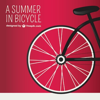 Red background with bicycle wheel