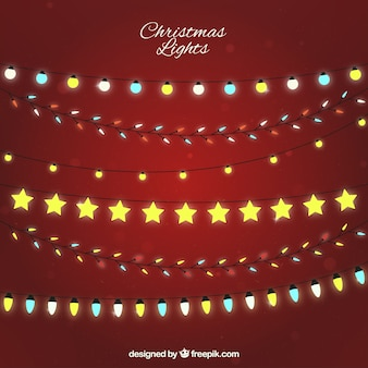Red background with different types of christmas bulbs