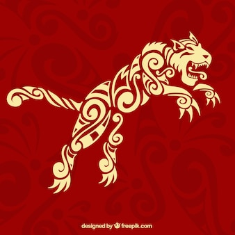 Red background with ethnic ornamental tiger