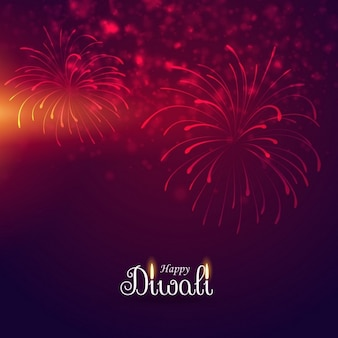 Red background with fireworks for diwali