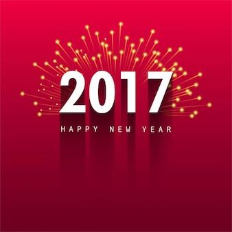 新しい年の花火と赤の背景