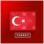 Red background with flag of turkey