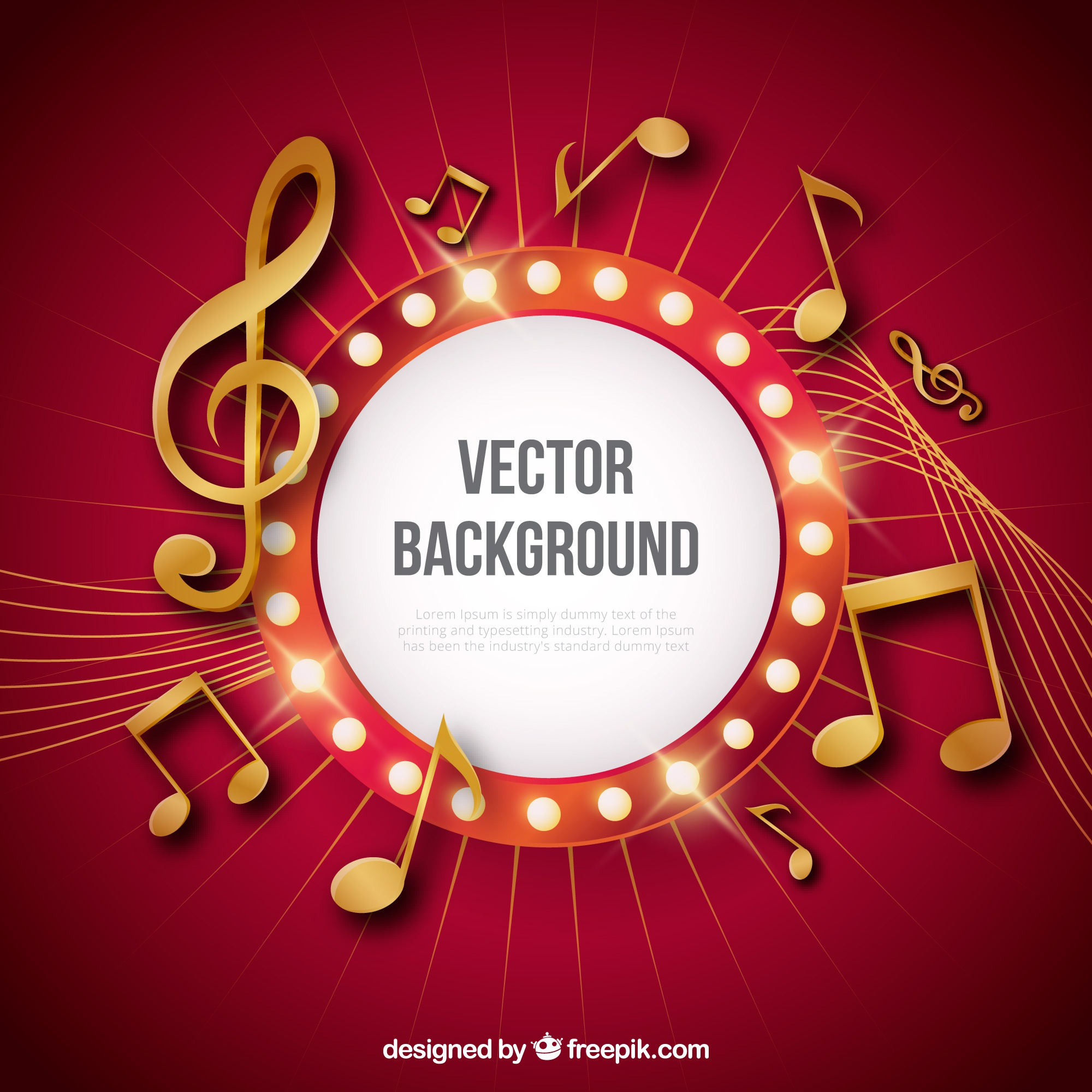 Red background with golden musical notes