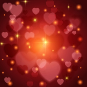 Red background with lights and hearts for valentine's day
