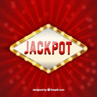 Red background with luminous jackpot sign