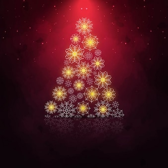 Red background with shiny christmas tree