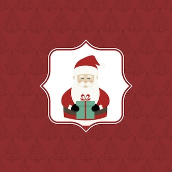 Red background with trees and santa claus