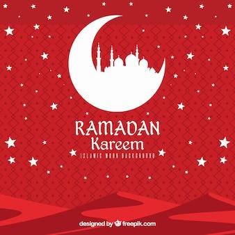 Красный фон с белыми звездами для Рамадан Карим