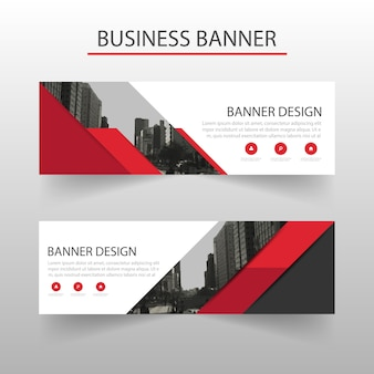 Red banners template, geometric style