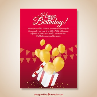 Red birthday card with gift and yellow balloons
