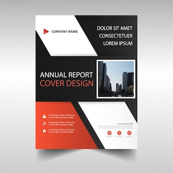 Red, black and white brochure