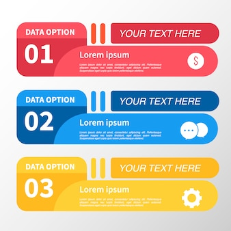Red, blue and yellow infographic label