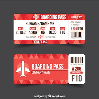 Red boarding pass with geometric background