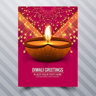 Red booklet with a candle and fireworks for diwali