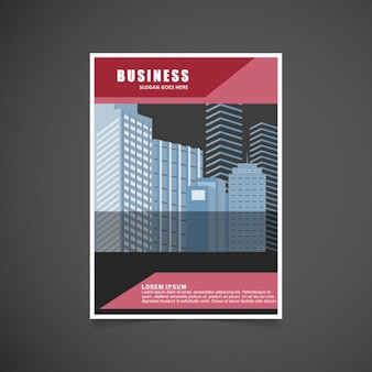 Red business brochure with buildings