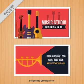 Red business card for a music studio