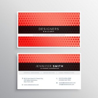 Red business card with elegant ornaments