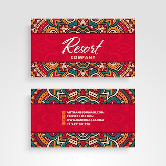 Red business card with mandala concept