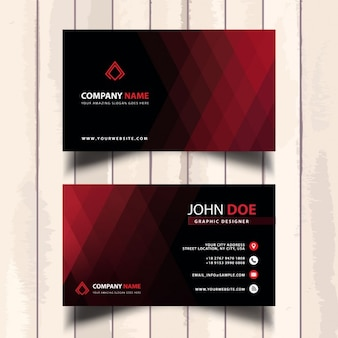 Red business card with polygonal shapes