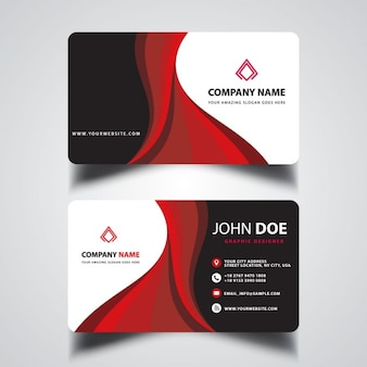 Red business card with wavy shapes