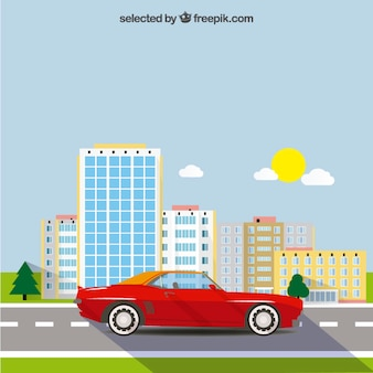 Red car and the city