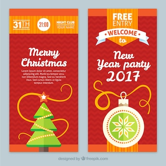 Red christmas and new year banners
