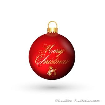 Red christmas ball greeting card