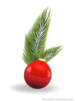 Red christmas ball with leafs