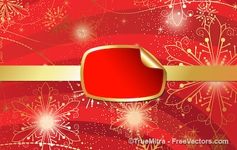 Red Christmas banner with gold snowflakes