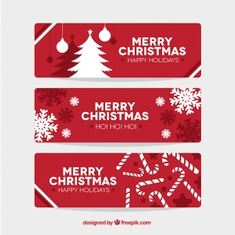 Red christmas banners set