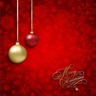 Red christmas card with baubles