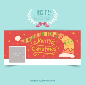 Red christmas facebook cover in abstract style