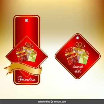 Red christmas labels pack