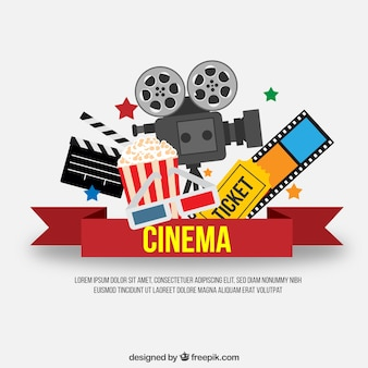 Red cinema ribbon with movie elements
