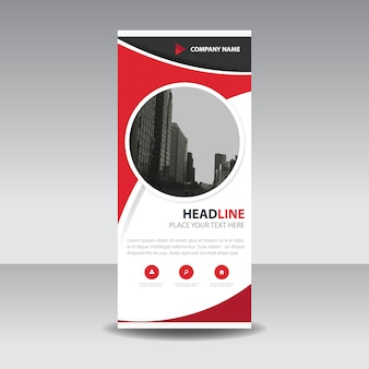 Red circle creative roll up banner template