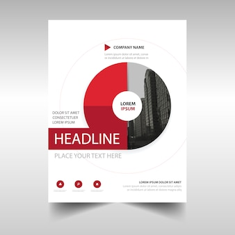 Red circular annual report brochure