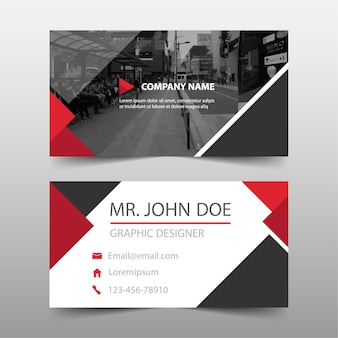Red commercial business card