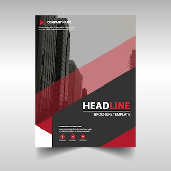 Red corporate brochure template with geometric shapes