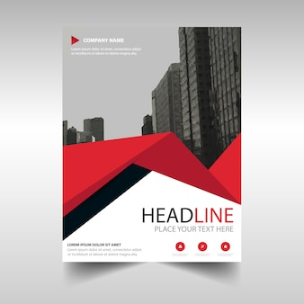 Red creative annual report book cover template  with triangles