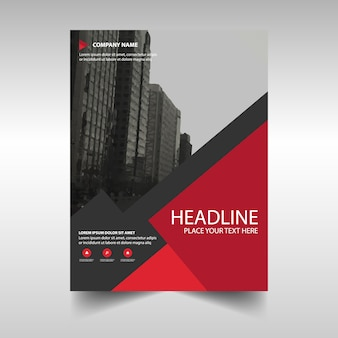 Red creative annual report template for business