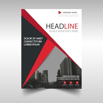Red creative annual report template with skyscrapers