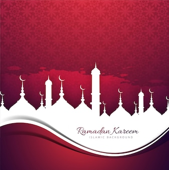 Red design with mosques for ramadan kareem